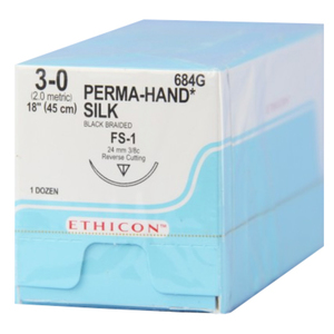 Reverse Cutting Perma-Hand Silk Non-Absorbable Sutures by Ethicon