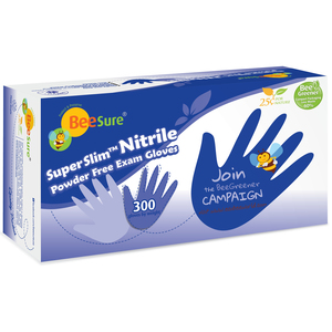 BeeSure SuperSlim Nitrile Powder Free Exam Gloves