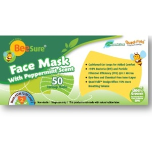 BeeSure Earloop Face Masks with Peppermint Scent